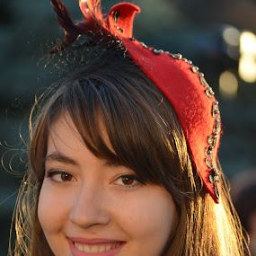 --- by Carmen-Laura B - People Portraits of Women ( woman, beautiful, red hat, smile, young )