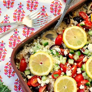 Greek Chicken and Rice Casserole.