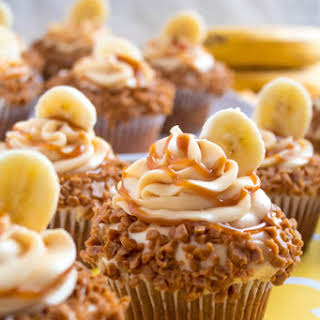 Banana Caramel Cupcakes with Caramel Cream Cheese Frosting.