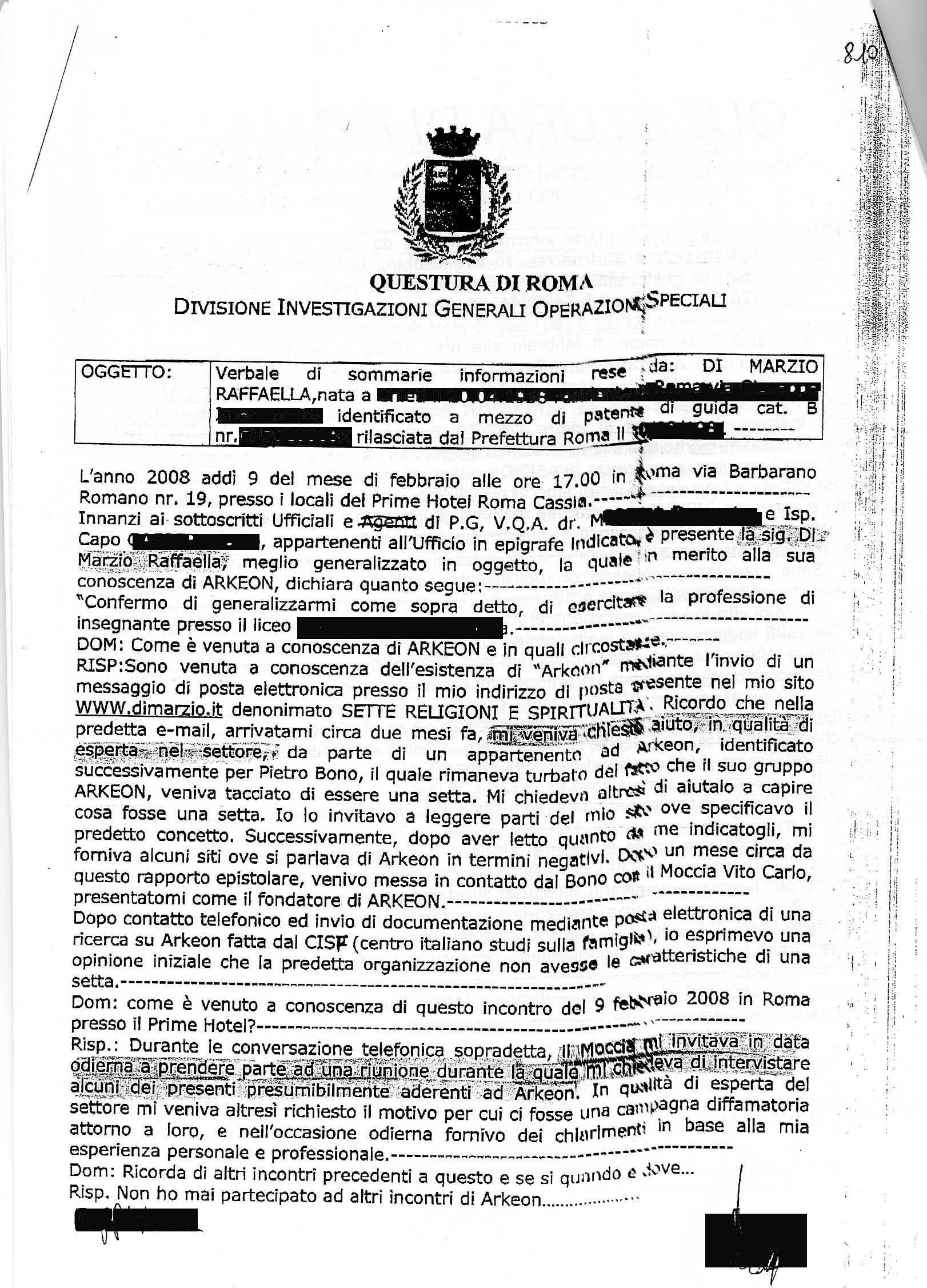 Photo: 9 febbraio 2008 - Dichiarazione rilasciata alla Digos di Roma, p.1