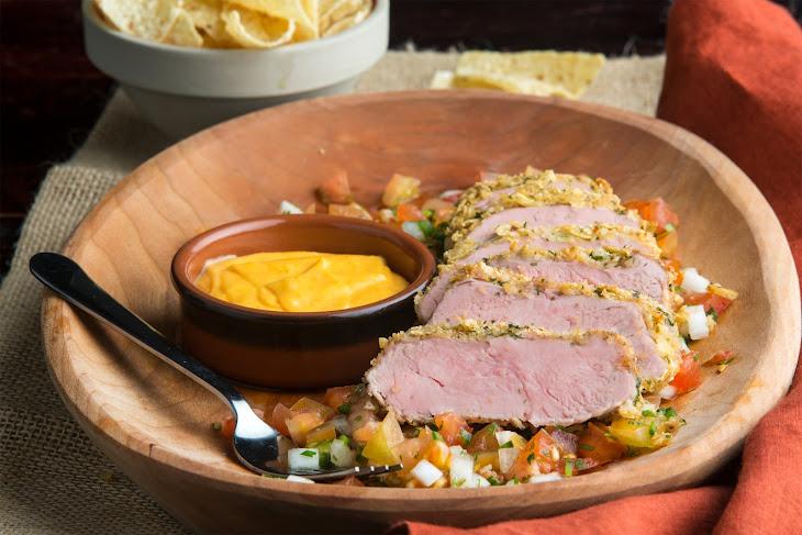 Nacho-Crusted Pork Tenderloin with Pico De Gallo and Nacho Sauce Recipe