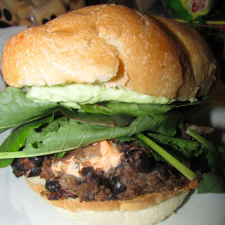 Chipotle Cheese Stuffed Black Bean Burgers with Avocado Creme