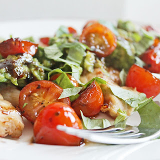 Avocado Parm Chicken with Balsamic Tomatoes