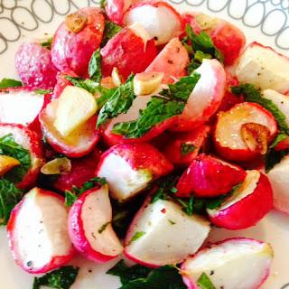Minty Garlic Roasted Radishes