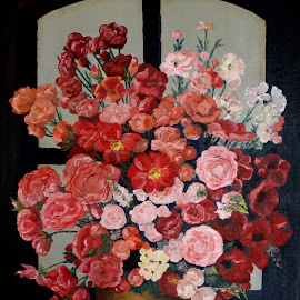 Flower still live by Bob Has - Painting All Painting ( window, still live, flowers, painting, oil,  )