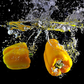 Yellow submarine, yellow submarine....... by Pete G. Flores - Food & Drink Fruits & Vegetables ( water, clear, autofocus, sparkling, dip, foods, splash, fruits, vegetables, yellow, deep, otep )