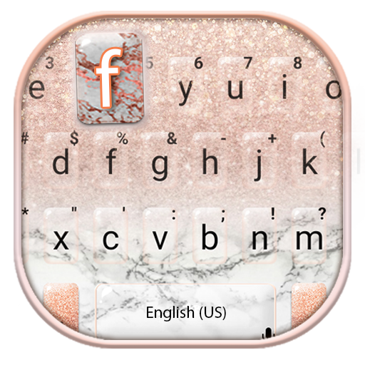 Rose Gold Glitter Marble Keyboard Theme