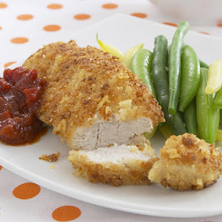 Potato Chip Breaded Fried Chicken with Tomato Chutney.