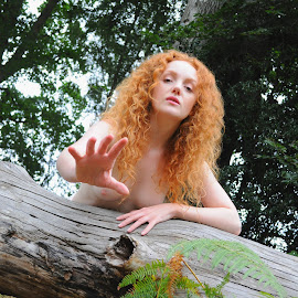 View of the Prey by DJ Cockburn - Nudes & Boudoir Artistic Nude ( natural light, topless, nude, nature, woman, forest, redhead, ivory flame, portrait )