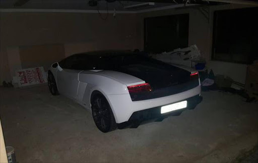 The Lamborghini found at the house of one of the OR Tambo heist suspects. Picture Credit: Supplied