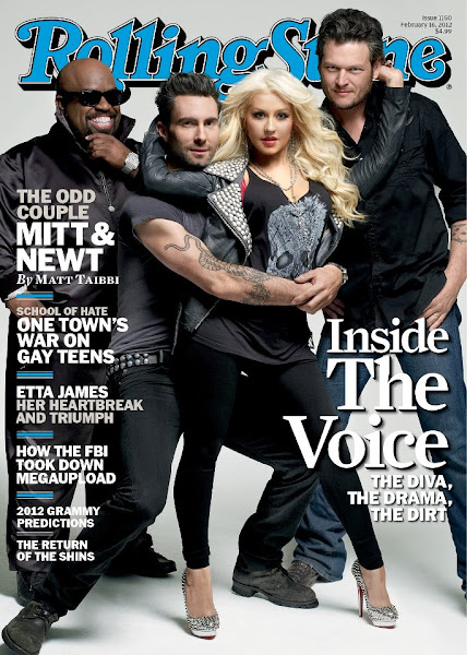Photo: Adam and the rest of The Voice coaches; Blake Shelton, Christina Aguilera and CeeLo Green, are on the cover of February's issue of Rolling Stone Magazine! Check out the cover below!