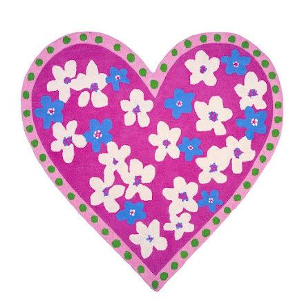 Candy Hearts fuchsia barnmatta