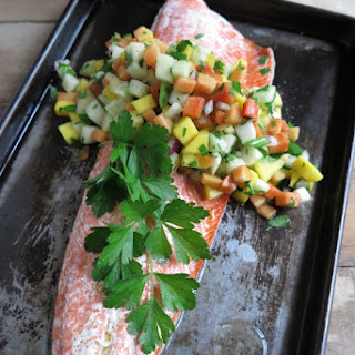 Oven Baked Salmon with Papaya-Mango Salsa (Paleo - AIP)