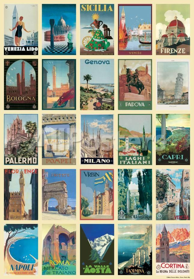 Vintage Style Italian Travel Poster Collage Poster Prints at ...