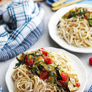 Creamy Goat Cheese Pasta with Zucchini and Tomatoes Recipe