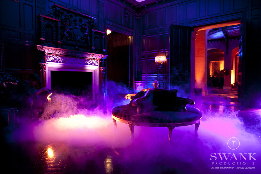 Photo: #Dark and Chic #Fog #Halloween Wedding HalloweenInspired Wedding. Wedding Planning, Event Design & Production by SWANK Productions at Hempstead House at Sands Point Preserve, www.swankproducti...