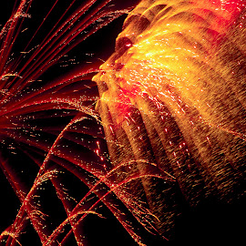 Golden Showers by Jennifer  Loper  - Abstract Fire & Fireworks ( red, golden, black, july 4, fireworks )
