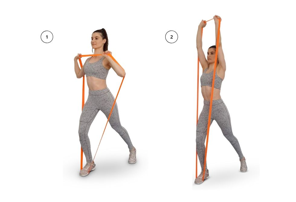 Shoulders - Overhead Press with Long Resistance Band - FIT CARROTS |  Premium Fitness Tools For Functional and Regeneration Training