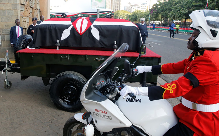 The coffin carrying the coffin with the body of former President Daniel Moi.