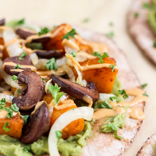 Roasted Butternut Squash Pitas with Avocado Chipotle Sauce.