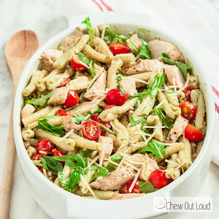 Pesto Pasta Salad with Grilled Chicken.