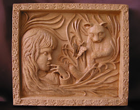 Photo: Niña con gato y mariposa. Tamaño: 34 x 38 cm. Talla en madera. Woodcarving.   Para leer algo más en relación con esta obra ir al blog: http://tallaenmadera-woodcarving-esculturas.blogspot.com/2009/04/nina-con-gato-y-mariposa.html