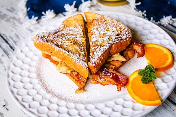 French Toast Breakfast Sandwich On A Plate.
