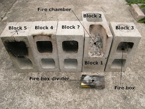 Photo: Review: Disassmebled stove: Block ? was an extra block I added to the chimney to check draft - It made no different. Notice how the heat of combustion in the fire chamber has burnt of all the soot. It is assumed that if the stove is working correctly there would be no soot in the chimney