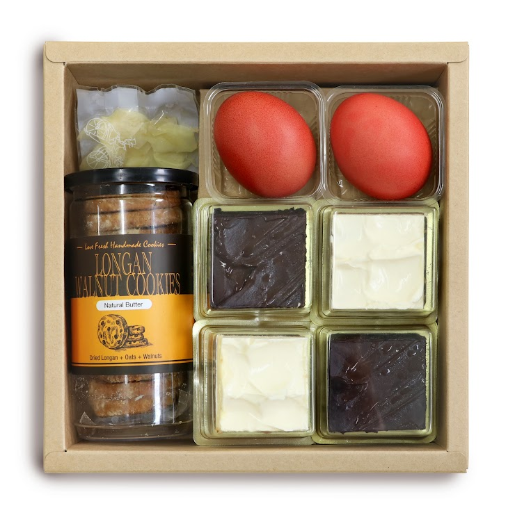 Assorted Cake x 4 Red Egg x 2 Pickled Ginger x 1 Handmade Cookies x 1 (The choice of cookies depends on current stock availability)