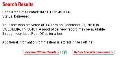 Отправление на сайте USPS