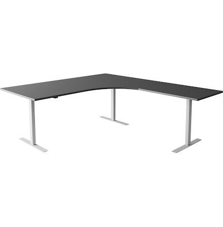Hörnskrivbord el silver/grå 20