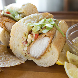 Spicy & Crispy Cornmeal-Crusted Fish Sandwich with Fresh Corn Slaw & Cool Creole Mayo