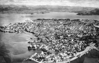 Photo: Aerial photo of Stavanger Norway taken ~ 1950.