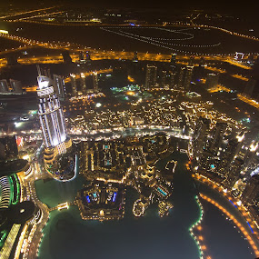 at the top - Burj Khalifa by Sebastian Tontsch - City,  Street & Park  Skylines ( lights, skyline, dubai, night, burj khalifa )