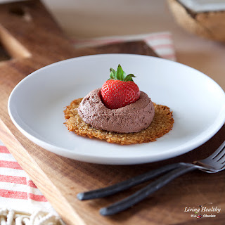 Coconut Tuiles with Fresh Strawberries and Chocolate Whipping Cream.