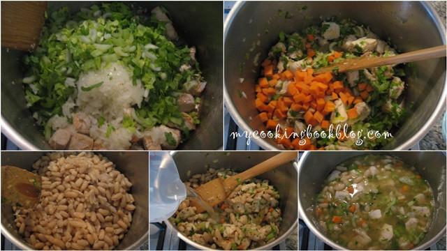 Фасул с пилешко, моркови и целина (селъри)