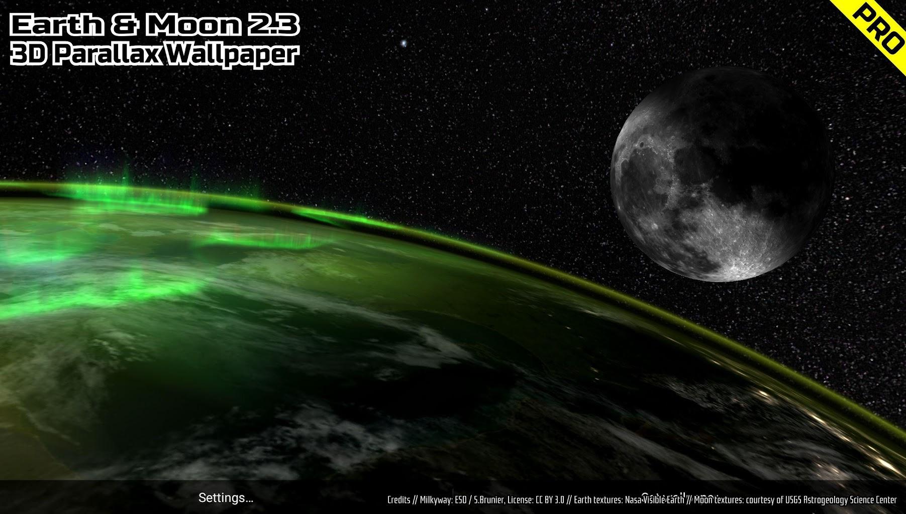 Earth & Moon in HD Gyro 3D PRO Parallax Wallpaper para ...