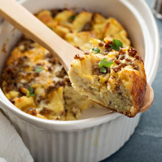 Slow Cooker Sausage and Cheddar Breakfast Casserole.