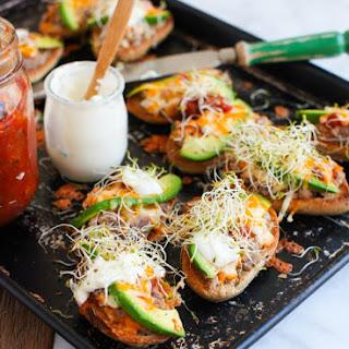 Mexican Molletes (avocado, bean & cheese melts)