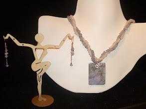 Photo: <BEREHYNYA> {Great Goddess Protectress} unique one-of-a-kind statement jewellery by Luba Bilash ART & ADORNMENT  CREATIONS OF THE BLACK SEA - ТВОРЧІСТЬ ЧОРНОГО МОРЯ - moss agate pendant, Indian tumbled sea glass, SS, 14K gold vermeil SOLD