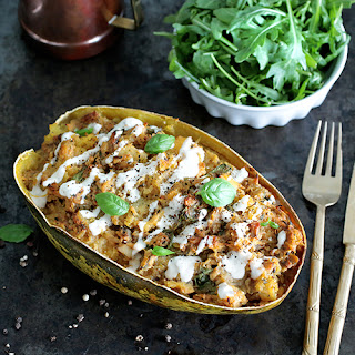 Baked Spaghetti Squash with Tempeh Ragout