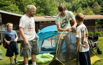 Photo: Learning to set-up a tent site at Emerald Lake State Park