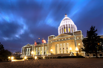 Photo: Hmm. Is it my eyes, or is this looking pixelated?  This started as a Raw File (one of my first, then I turned it to a smaller Jpeg to work with... but something looks wrong. Hmmm.  ARkansas State Capitol with lights. Taken before Christmas travel.