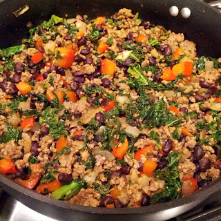 Kale and Ground Beef/Turkey Taco Filling.