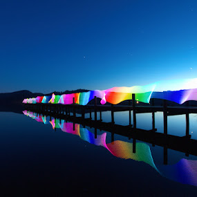 Reflected Ribbons by Mark Airey - Landscapes Waterscapes ( coniston, light painting, reflections, long exposure, lake, jetty, e-600, lake district, olympus )