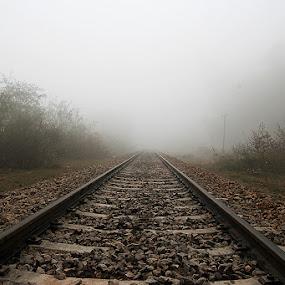 Unseen Path by XeeShan Ch - Transportation Trains ( pakistan, fog, gujrat, trail, xeeshan, train, landscape, mist )