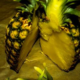 Half-pine by Raymond Fitzgerald - Food & Drink Fruits & Vegetables ( cut, half, pineapple, fruit, yellow )