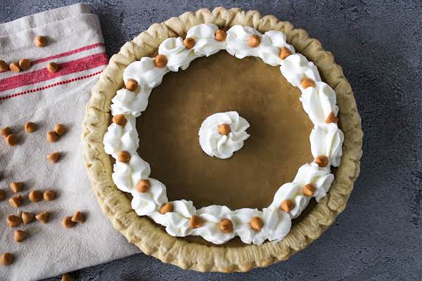 Grandma's Butterscotch Pie Ready To Be Sliced.