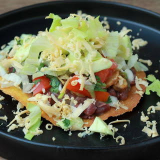 Refried Beans and Mushroom Tostada Recipe (Mexican Toasted Tortillas With Beans)