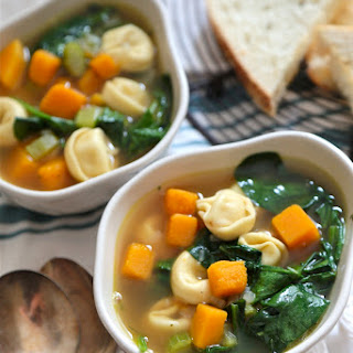 Butternut Squash Spinach and Tortellini Soup
